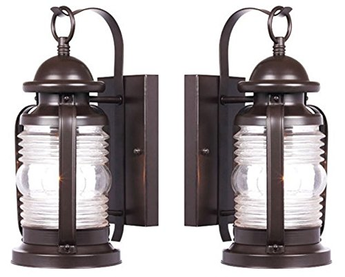 Ciata Lighting Weatherby One-Light Exterior Wall Lantern, Weathered Bronze Finish on Steel with Clear Glass - 2 Pack