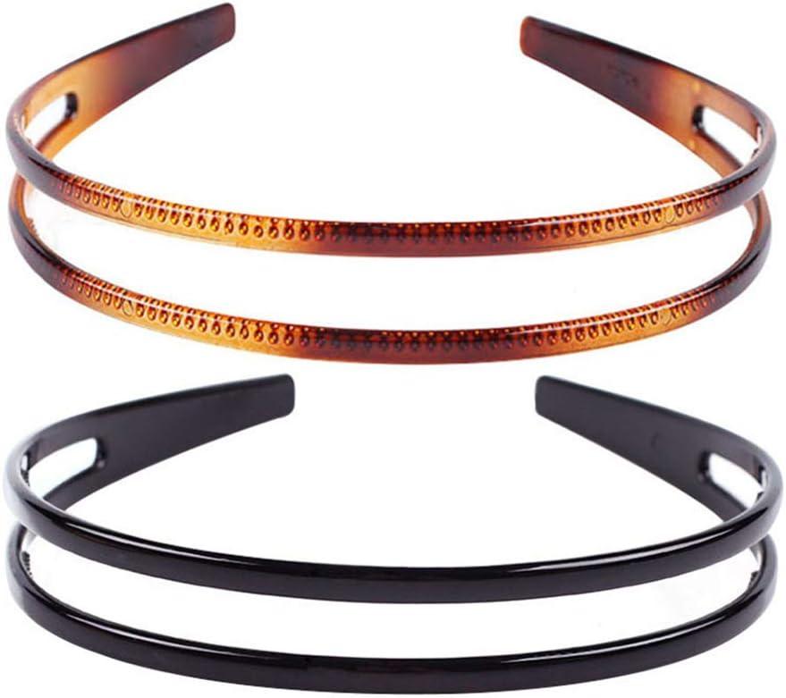 Lurrose Diadema de plástico duro de 2 piezas diadema de doble fila diadema de peine de dientes minimalista para mujer (negro y marrón)