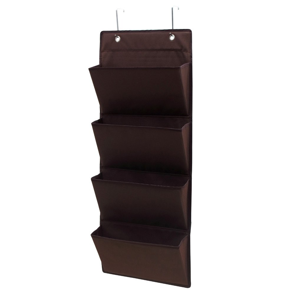 NKTM Over The Door Fabric Office Organizer Wall File Holder Hanging Office Supplies Storage for Notebooks,Planners,File Folders - 4 Pockets Brown