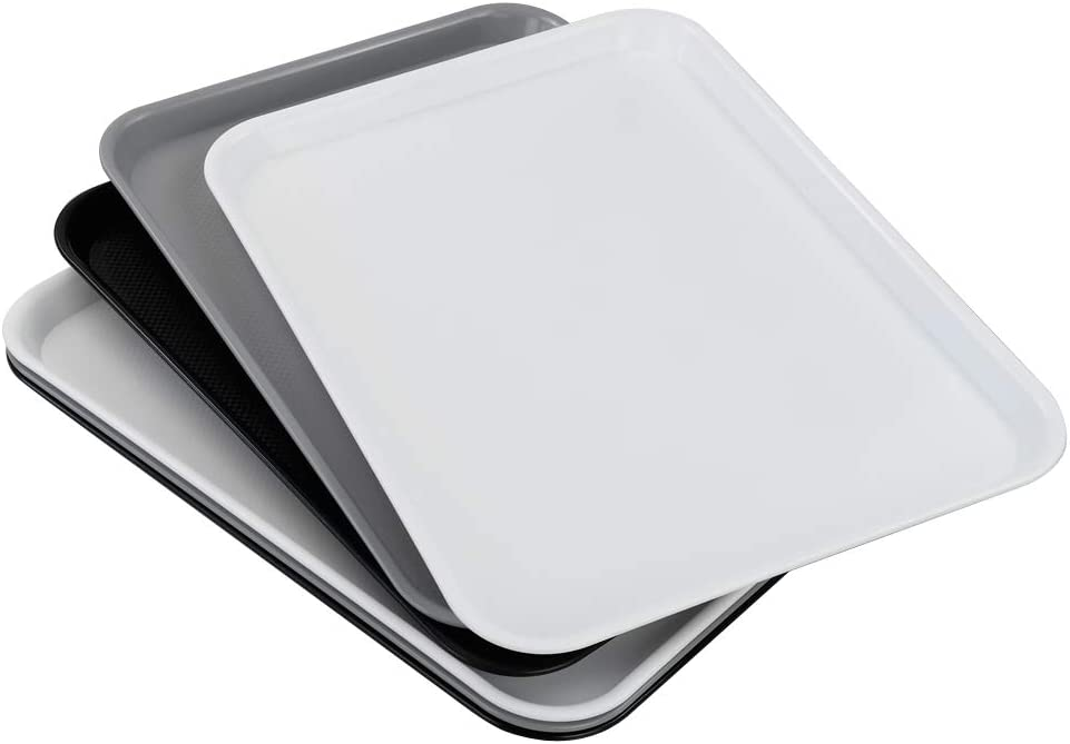 Ucake Large Plastic Serving Tray, White Black Gray, Rectangle, 6 Packs