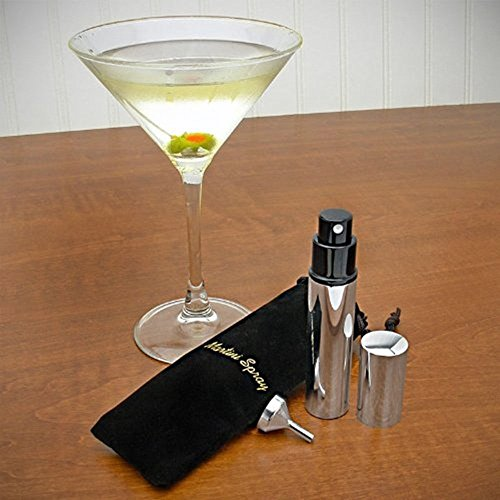 Stainless Steel Martini Vermouth Atomizer Spray Set (Includes Sprayer, Funnel, and Black Pouch) - Martini Mister - Gift - Vermouth Martini