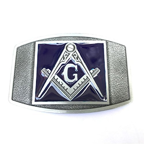 Classic Mason G Masonry Belt Buckle Freemason Secret Society Compass Gentleman