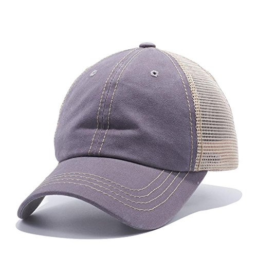 The Hat Jungle Plain Dyed Trucker Dad Hat Unstructured Buckle Strap Baseball Cap ()