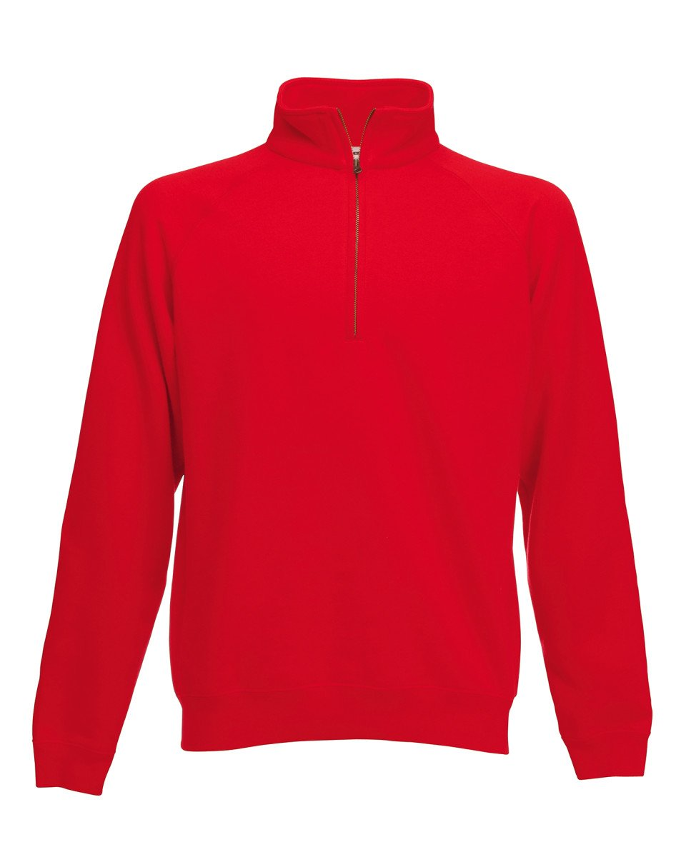 FRUIT OF THE LOOM ZIP NECK SWEATSHIRT - 6 COLOURS
