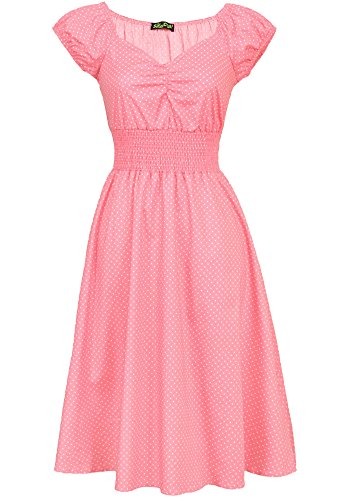 [Sidecca Retro Sweetheart Neck 1950s Smock Vintage Style Dress (X-Large, Pink)] (Sally Brown Costume)