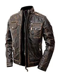 Mens Motorcycle Biker Vintage Distressed Brown Cafe Racer Real Leather Jacket