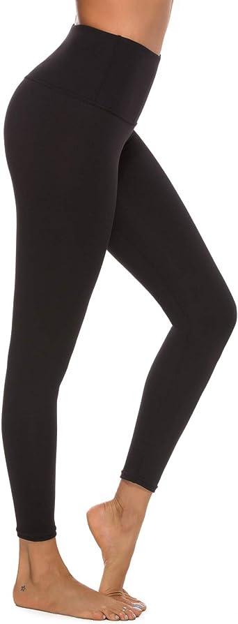 Stelle Athletics High Waisted Yoga Pants Tummy Control Black Leggings with Inner Pocket for Women