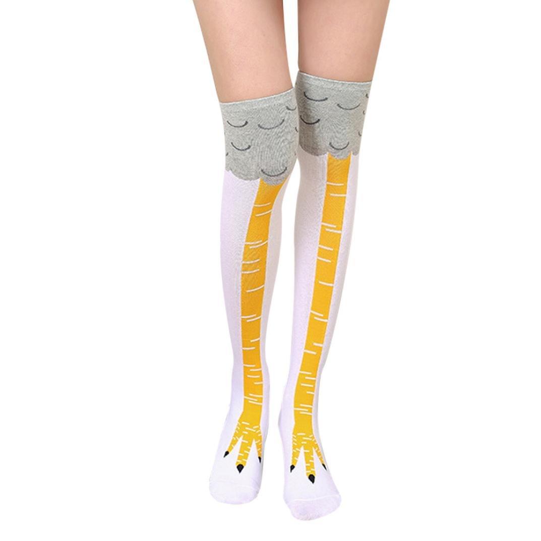 TWIFER Lustige Frauen Mädchen Huhn Kreative Print Cartoon Oberschenkel Socken Overknee Strümpfe (Pink, Freie Größe) Freie Größe)
