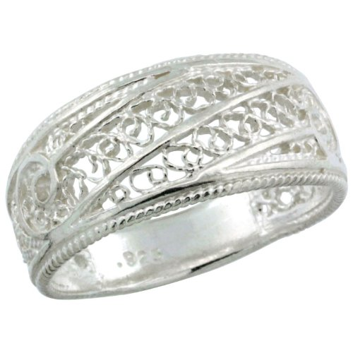 Sterling Silver Filigree Dome Ring, 3/8 inch, size 9