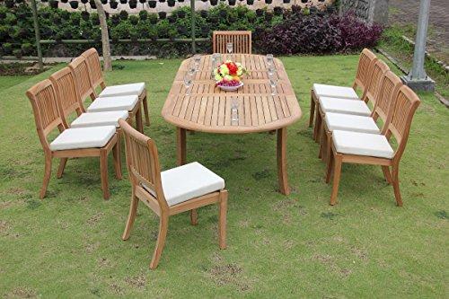 New 11 Pc Luxurious Grade-A Teak Wood Outdoor Dining Set - 117