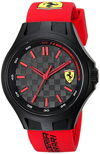 Scuderia Ferrari Men's Quartz Plastic and Silicone Casual Watch, Color:Red (Model: - Scuderia Men Ferrari