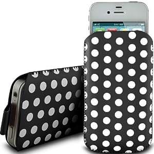 Online-Gadgets UK - HTC One Mini Polka Dot Design Premium caja de la PU ficha de extracción Funda de cuero Flip - Negro