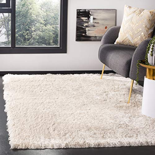 Safavieh Paris Shag Collection SG511-1212 Ivory Polyester Area Rug (5' x 7') (Rug Creme)