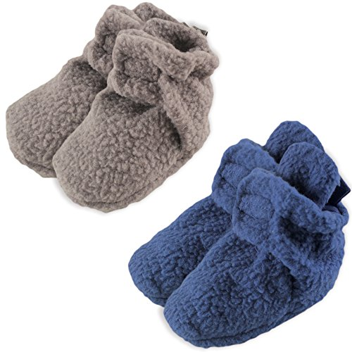 Luvable Friends Fleece Scooties, 2 Pack, Gray and Blue, 6-12 Months