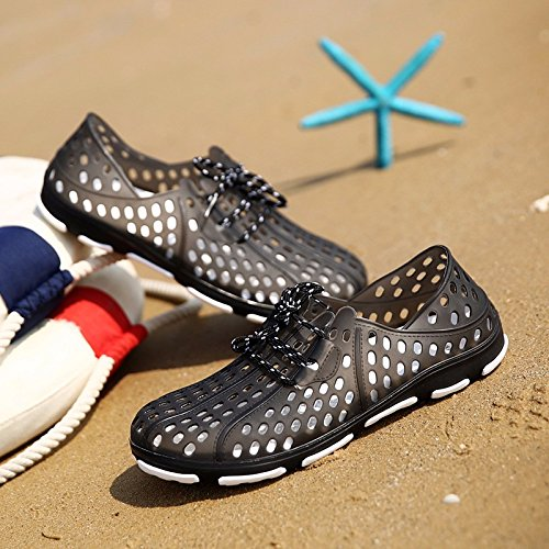Pattini di estate del ponticello dei pattini di estate degli uomini Pendenti traspiranti di Sandali di grande formato Sandali di scarpa da spiaggia Scarpe da mare, nero, UK = 6, EU = 39