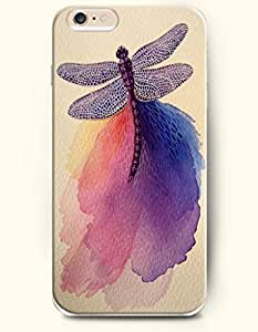 OOFIT Hard Phone Case for Apple iPhone 6 Plus ( iPhone 6 + )( 5.5 inches) - Purple Dragonfly - Oil Painting
