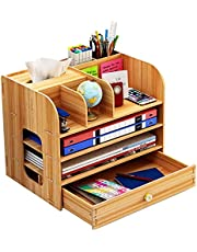$21 » Wood Desktop Organizer with Drawers, Durable 4-Tier Desk Organizer with Tissue Box Cover & Pen Holder & Bookshelf, Desk Organizers and Storage for Home, Office, School and Dorm Supplies.