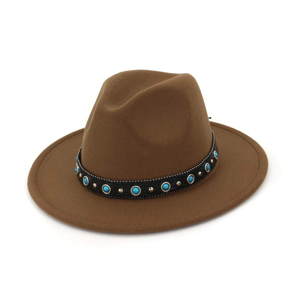Unisex Wide Brim Woolen Felt Fedoras Hat Soft Top Hat Classic Jazz Hat with Belt Rivet Decoration