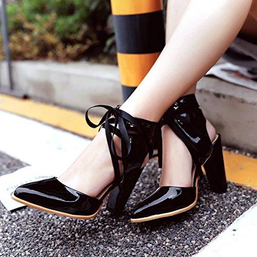 AIYOUMEI Damen Slingback Sandalen mit Blockabsatz und 10cm Absatz High Heels Sandaletten Spitz Schwarz