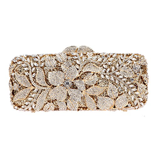 Fawziya Flower Purses For Girls Bling Rhinestone Crystal Clutch Bag-Gold