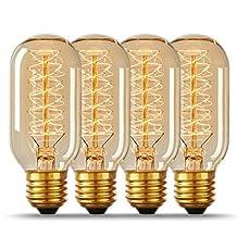 DORESshop 60W Vintage Edison Bulbs, T45 Antique Tubular Style Bulb, 2700K, E26 Base, Amber Glass, 110-130 Volts, Filament Light Bulbs for Home Light Fixtures Decorative, Dimmable (4 Pack)