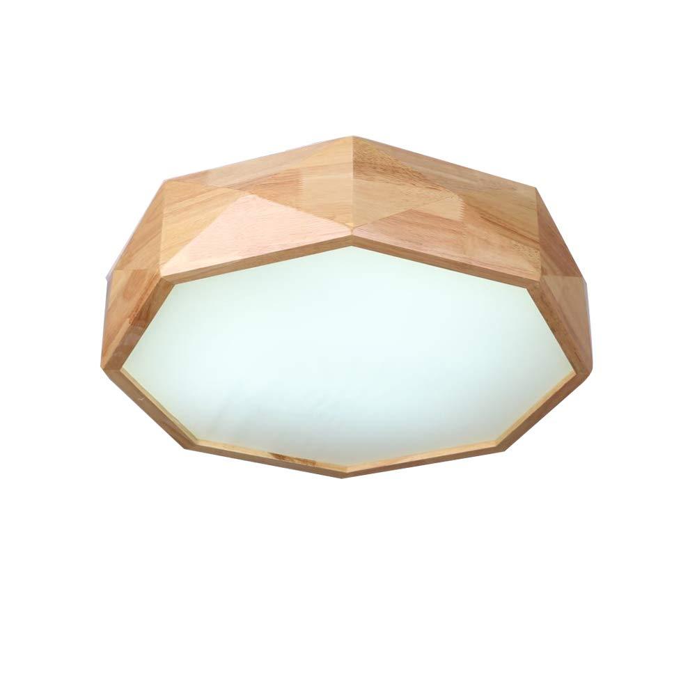 VinDeng Creative Wood LED Ceiling Light Flush Mount, 36W Octagon ...