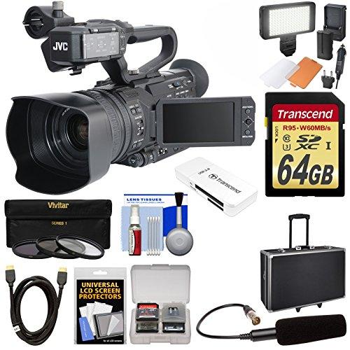 JVC GY-HM200U Ultra 4K HD 4KCAM Professional Camcorder & Top Handle Audio Unit with XLR Microphone + 64GB Card + Hard Case + LED Light Kit