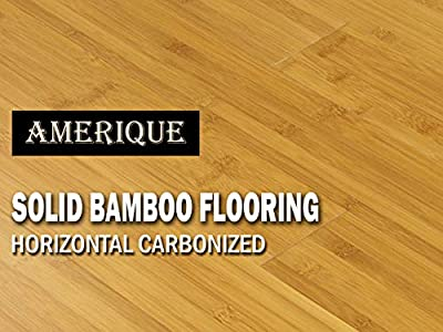 "AMERIQUE GLHCM9609615 Pre-Finished Solid Bamboo Floor Horizontal Carbonized, 23.81Sqft/3-3/4 x 5/8"" x 37-3/4"", Medium Shade, Square Feet"