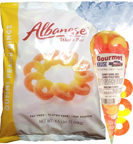 Gummi Gummy Peach Rings Albanese - Bulk Candy 4.5Lb Bag With Peach Rings Gourmet Kruise Signature Gift Bag 10 OZ (NET WT 82 OZ) 2 Item Bundle -