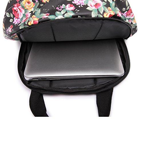 Miss Square Bag Structured 1658black Matte Shoulder Oilcloth Flower Lulu Satchel Floral rxqRzYr7