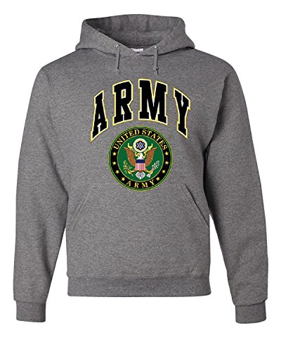 Lucky Ride US Army Emblem Mens Sweatshirt, US Great Seal Pullover Hoodie, Sports Grey, XL Army Grey Hooded Pullover Sweatshirt