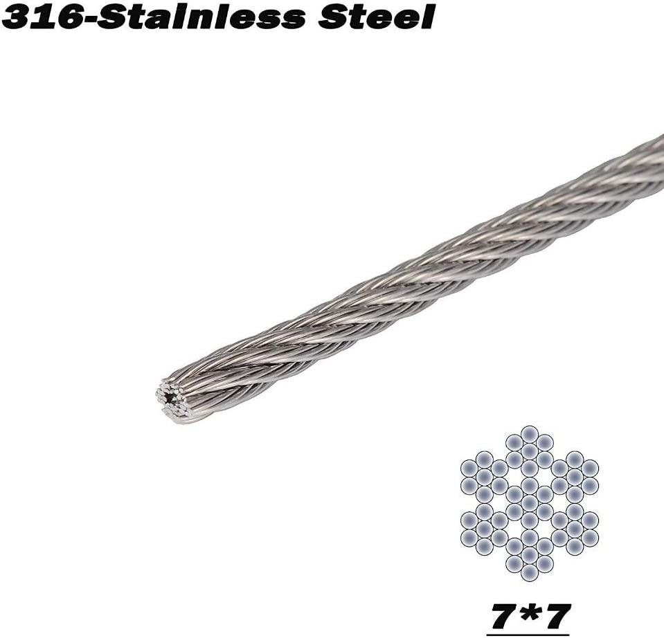 7x7 100//164 Pieds Without brand T316 Marine 1//8 Pouces en Acier Inoxydable Avion Fil Corde for Plate-Forme c/âble Balustrade Kit Diameter : 100Feet