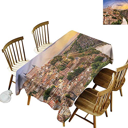 Washable Tablecloth Wanderlust Toledo Spain Old City Party Decorations Table Cover Cloth 54