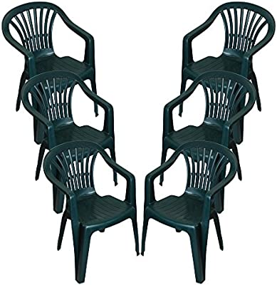 Low Back Plastic Garden Chairs Stackable Patio Outdoor Party Seat Picnic Chair