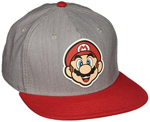 BIOWORLD Nintendo Super Mario Bros - Mario Rubber Logo Snapback Cap - Daisy Princess Peach Costumes