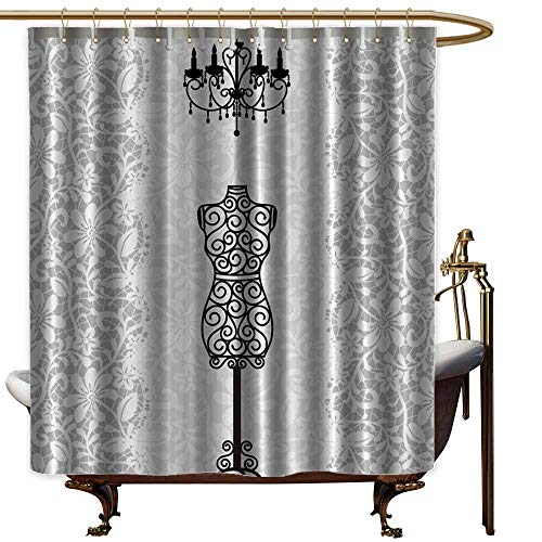 Boston Glass Chandelier - shower curtains for bathroom fabric black and gray Gray Female,Dress Form Mannequin Black Chandelier White Lace Home Woman Fashion Theme Item Modern Art Print,Gray Black,W69