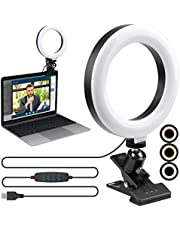 """Video Conference Lighting Kit,ENEGON 6"""" Selfie Ring Light for Video Conferencing, 3 Light Modes&9 Level Dimmable Light with Clamp Mount for Remote Working 