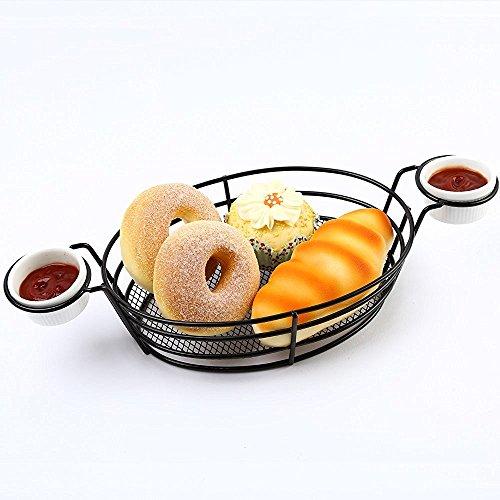 [iGodee French Bread Basket with 2 Ceramic Sauce Cups Fried Chicken Basket Restaurant Family Kitchen Food Presentation Tableware IF0034] (Restaurant Bread Baskets)