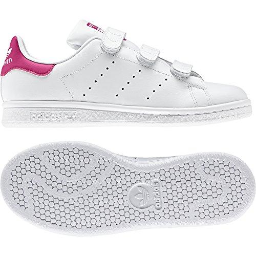 sports shoes eabb8 e3444 adidas Originals Girls' Stan Smith CF J Sneaker, White/White/Bold Pink, 4.5  M US Big Kid