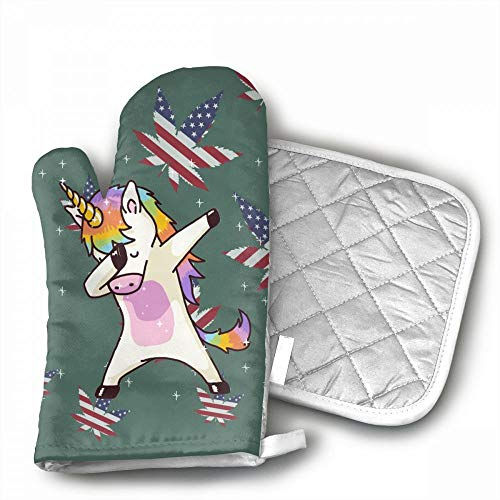 Unicorn Cute Dabbing Funny Dab Dance Oven Mitts,Professional