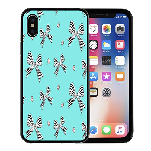 Emvency Phone Case for Apple iPhone Xs Case/iPhone X Case,Pink Graphic Bows Hearts Cute Woman Striped White Black Soft Rubber Border Decorative, Black
