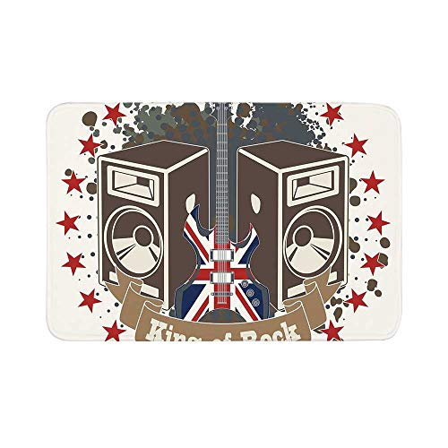 C COABALLA Popstar Party Durable Door Mat,King Rock Label with Speakers Stars and Electric Guitar with British Flag Decorative for Living Room,15.7