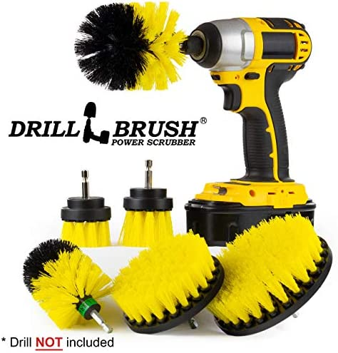 YIJINSHENG 3 Piece Medium and Stiff Brush with Drill Attachment Scrubbing Brushes for Cleaning Car Tires,Carpet Yellow Tubs Yellow Kitchens,Bathrooms Boats Power Scrubber Kit Showers