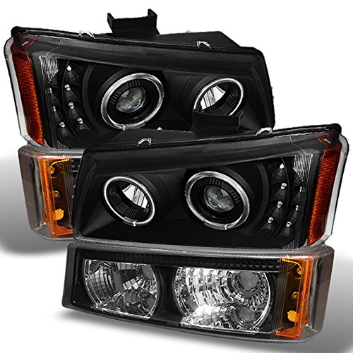 For Black Fit 03-06 Chevy Silverado Dual Halo Projector DRL LED Headlights+ Bumper Signal Lights Lamps