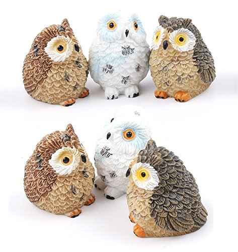 UTENEW Owls Miniature Fairy Garden Micro Landscape Decoration 6 Pcs Mini Owls DIY Craft Decor, Resin Ornament Figurine, Artificial Bonsai Animal ()