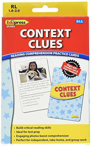 Edupress Reading Comprehension Practice Cards, Context Clues, Yellow Level (EP62992)