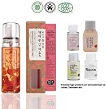 Whamisa [ Skin Care Kit ] Organic Flowers Damask Rose Petal Mist 80ml / Deep rich Toner and Lotion 20ml each/Cleanser 20ml / Random 1 Miniature - Naturally fermented, EWG Verified | BDIH Certifed