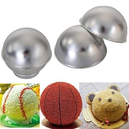 Amazon.com: Creative 3D Sports Ball Shaped Cake Pan Baking Mold Set // Molde para pasteles en forma de juego de moldes para hornear creativa balones de: ...