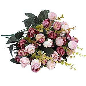 Luyue 7 Branch 21 Heads Artificial Silk Fake Flowers Leaf Rose Wedding Floral Decor Bouquet,Pack of 2 (Pink coffee) 2