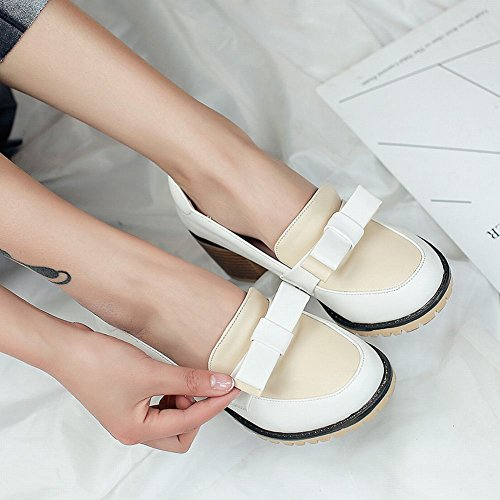 Slip Latasa Block Main Bow Womens Heel Color Shoes on White wSInq4Svrx